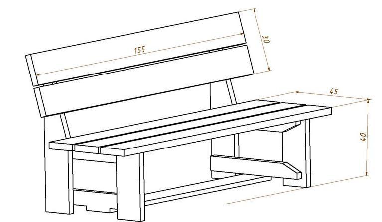 размеры дачной скамейки