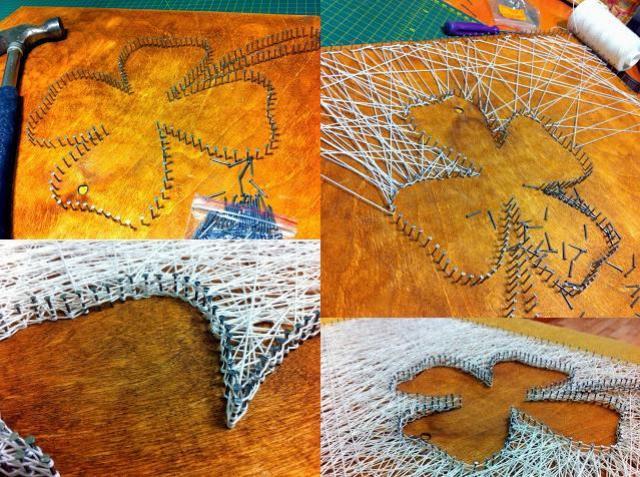 Делаем декор из ниток и гвоздей - String Art