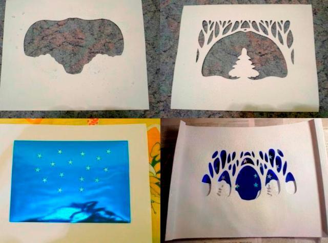єтапы изготовления поделки декоративный лес зимой