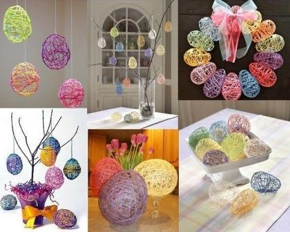Яйцо из ниток делаем с помощью воздушного шарика