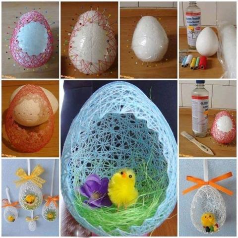 Вкалывайте иголочки по кругу яйца в несколько рядов, чтобы можно было красиво наматывать нитки для передней части и в один ряд – для задней.