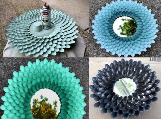 Варианты исполнения зеркала из одноразовой посуды