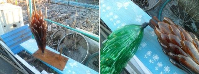 Вы можете придумать и свою собственную схему пальмы из пластиковых бутылок.