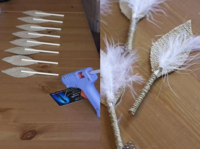 Деревянную палочку приклейте к основанию листка, она будет выполнять роль ножки бутоньерки