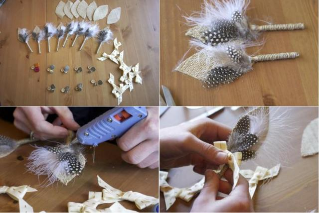 Бутоньерку можно украсить перьями и пуговицами