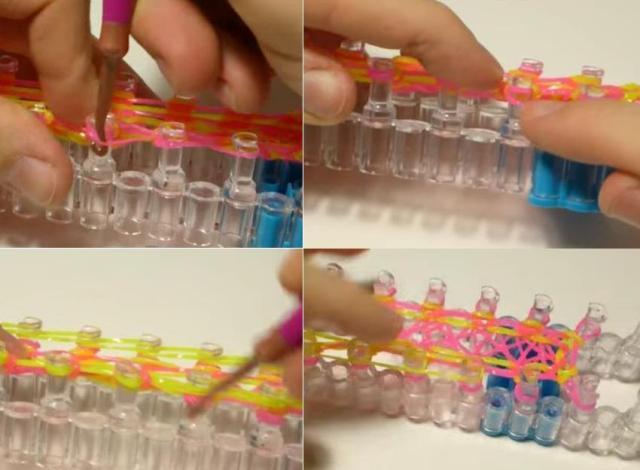 Отсчитайте 3 столбика, именно с 3-го начните поддевать крючком резинку и перекидывать на следующий столбик.
