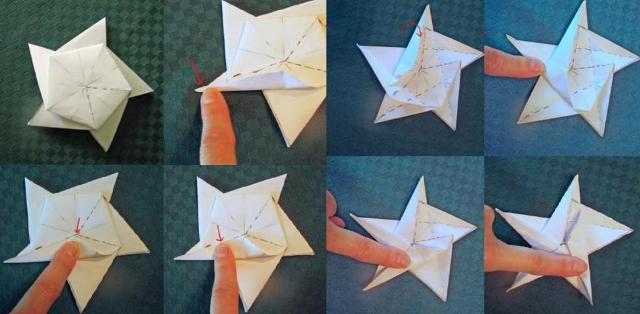 Основания поочерёдно сгибайте к центральной линии и делайте пометки с двух сторон.