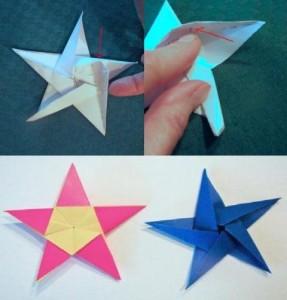 Готовую звезду можно наклеить на открытку или использовать для изготовления медали