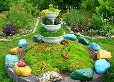 Идеи декора клумбы камнями