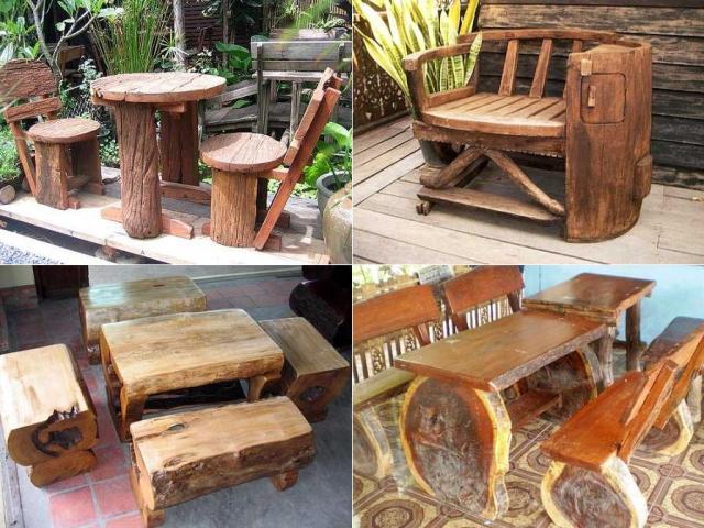 Коряги и пеньки могут оригинально украсить дачную мебель