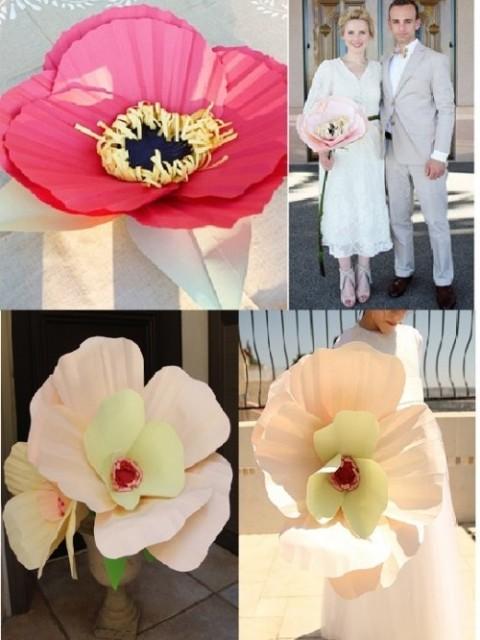 Гигантские цветы из бумаги для украшения зала