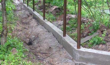 При помощи шнура и деревянных или металлических колышков производят разбивку места под будущий фундамент, отсыпая контур песком
