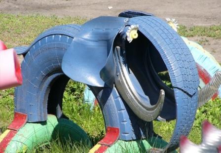 слоники из автомобильной покрышки
