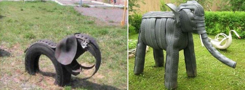 Слоны из покрышки