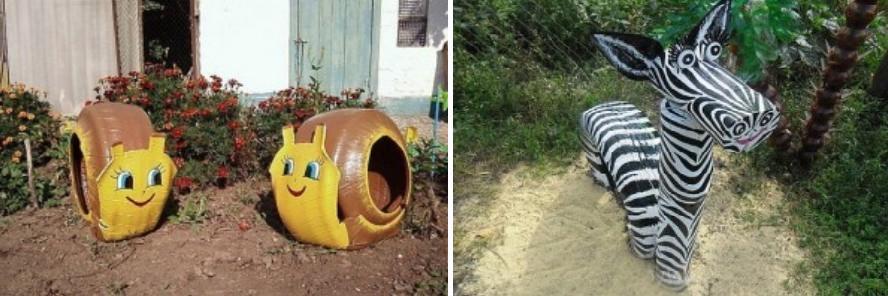 Улитки и Зебра: поделки из отработанных шин для сада и огорода