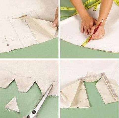 Из отреза ткани необходимо вырезать два квадрата размерами 150*150 см. Для того чтобы сделать круг квадраты необходимо сложить в четыре раза, отмерить 0,65 м и отрезать.