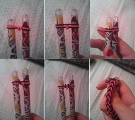 Плетем простой браслет из резиночек без станка
