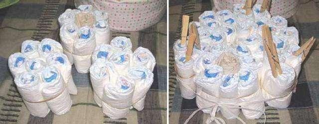 торт из памперсов для новорожденных своими руками
