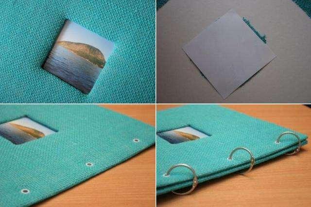 Приклейте с обратной стороны в области окошка фото и заклейте всю сторону картоном.