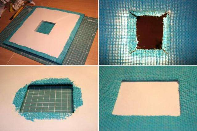 Приступаем к изготовлению передней обложки. Точно так же вырезаем квадрат из картона, только в центре вырезаем ещё один квадрат
