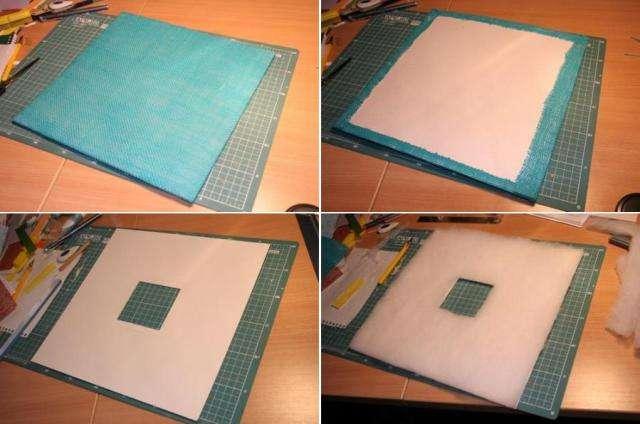 Отрежьте квадрат холщевины, при этом сделайте запас с каждой стороны по 1 см, чтобы было удобно приклеивать