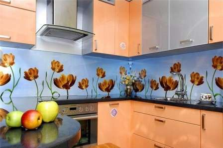 дизайн кухни стеклянный фартук