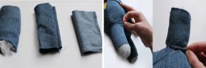 Ножки миньона можно пошить из джинса,