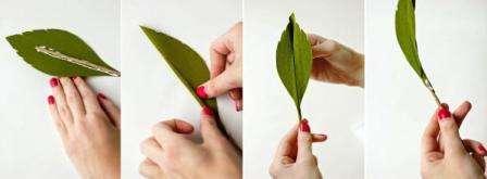 Теперь займемся оформлением лепестков. Возьмите лист, который предварительно вырезан, оливкового оттенка, на центр добавьте немного клея