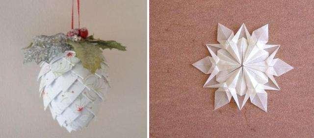 бумажные снежинки и шишки