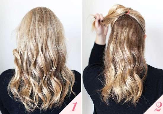 прическа на скорую руку на длинные волосы
