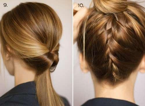 сделать низкий хвост, неплотно закрепить его прозрачной резинкой для волос;
