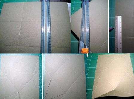 Возьмите квадрат бумаги со стороной 30 см и разделите его на маленькие квадратики по 10 см. Должно быть 9 небольших квадратиков. Теперь нужно на каждой стороне бумаги отметить середину и начертить квадрат, который пересечет маленькие квадраты.