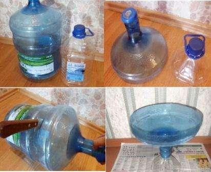 В этом мастер-классе использовался бутыль и баклашка для изготовления оригинальной вазы. От размера бутылок зависит форма и размер готовой вазы. Вам необходимо обрезать горловину с двух бутылок, при этом не просто горловину, но и часть бутылки.
