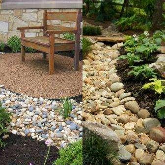 Если на вашей приусадебной территории уже присутствуют каменные предметы декора, то лучше использовать такие же виды камня и для сухого ручья
