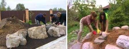 Важный этап в этой работе – это подбор камней последующая их обработка. Потому что благодаря им и растениям определяется вид горки в целом.