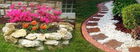 Для сооружения бордюров и ограждений часто используют камень. Камень долговечен и надежно удерживает чернозем на своем месте, а также не дает разрастаться цветам вдоль дорожек газона и при поливе удерживает воду в клумбах.