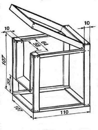 Затем нужно обшить фанерой или ДСП все поверхности внутри ящика, кроме верхне, она будет выполнять роль крышки