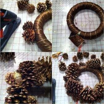 готовим новогодние поделки из шишек