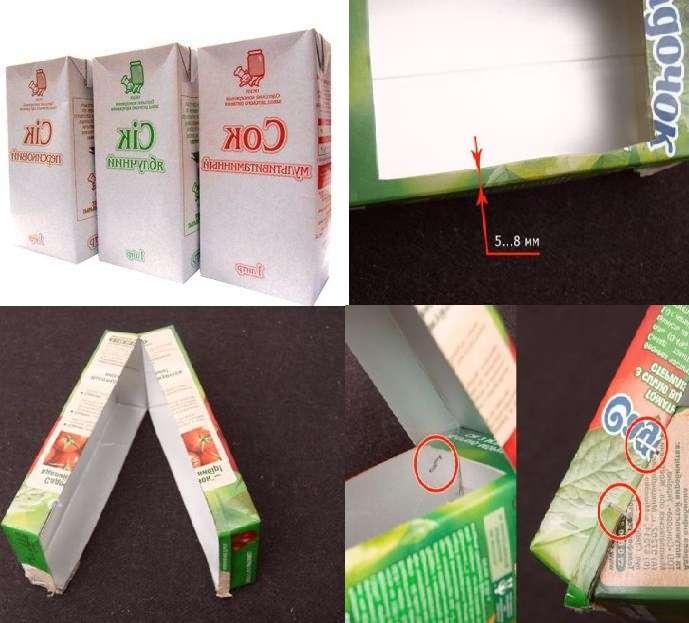 Возьмите две одинаковые коробки. На одной вам нужно вырезать прямоугольник длиной 14 см и шириной 8 см, если коробка литровая. В итоге должно по краям быть от 1 до 3 см. Вторую коробку нужно разрезать вдоль до конца, но при этом не разрезать дно. Эти две коробки нужно соединить так, чтоб получилось основание и крыша. Сделать это можно при помощи обычного степлера. Лучше не использовать скотч и нитки, так как во время первого же снегопада ваша конструкция может разорваться.