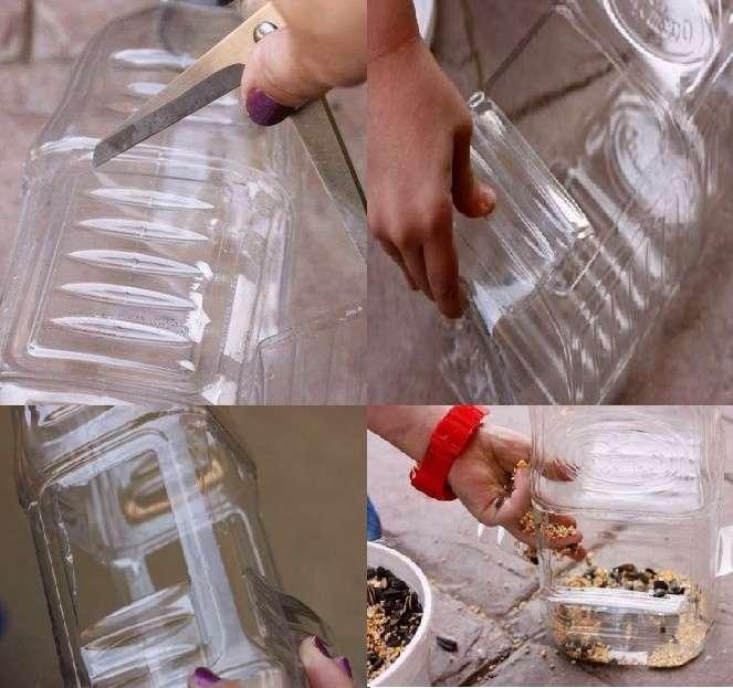 Сегодня пластиковые бутылки широко используются для рукоделия. Из них можно сделать оригинальные украшения для сада, сувениры, построить дом или будку для собак. Если взять большую пластиковую бутылку, вы без труда сможете сделать кормушку для белок или птиц.