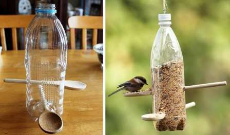 Кормушка для птиц своими руками из бутылок