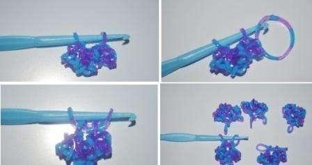Когда все детали будут готовы, наденьте их на крючок, возьмите новую резинку и проденьте её сквозь детали. Свободная петля надевается на крючок и потом провязывается через вторую петлю, которая уже есть на крючке. Затяните петельку и снимите уже готовую снежинку из резинок с крючка. Если хотите использовать изделие в качестве брелка, сделайте более длинную петельку.