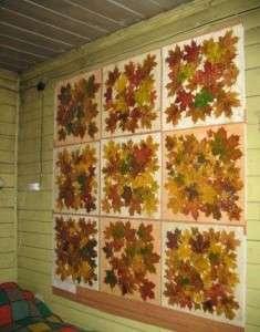 декор стены осенними листьями