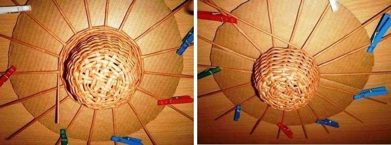 Придав шляпке нужную форму, переходите к созданию полей. Для этого опять понадобится картонный круг. К нему точно по центру размещают заготовку, прикрепляя через равные промежутки бумажные трубочки основания к картонному кругу прищепками.