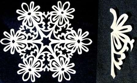 Чтобы снежинка получилась очень красивой, используйте тонкую бумагу. Если взять плотные листы, то при складывании деталь будет толстая. Из такой бумаги не получится сделать изящную снежинку из-за толстого слоя бумаги.