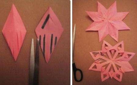 Вот еще один способ сделать нарезы для того чтобы получилась оригинальная снежинка.
