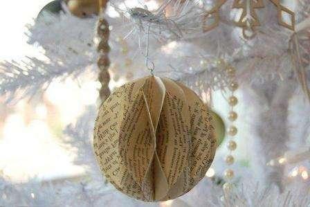 Продеваем сквозь колечки нить, делаем из неё петельку, благодаря которой наш шар будет красоваться на новогодней ёлке