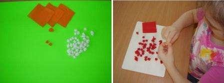 Дети могут даже полностью заполнить лист бумаги, имитируя цветочки. Для этого вам понадобится один комочек одного цвета, а вокруг него наклеивайте 6-7 комочков-лепесточков цветка другого цвета.