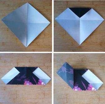 Чтобы ваша поделка получилась креативной, берите для ее изготовления двустороннюю бумагу или бумагу для скрапбукинга. Вырежьте сначала квадрат и сложите его пополам по диагонали. Это делается для того, чтобы отметить линии сгибов, и потом вам было удобно сгибать сердечко.