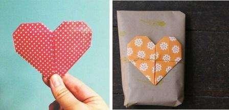 Если вы все сделали правильно, то получится оригинальное сердечко, которое можно внутри подписать или использовать для декорирования подарка или открытки. Попробуйте сделать много таких сердечек разного размера, при желании вы можете использовать их для сердечной гирлянды.